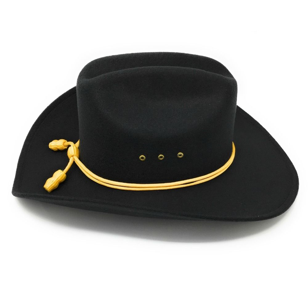 a2aab1ca Black Cattleman Style Cowboy Hat With Yellow Cavalry Rope